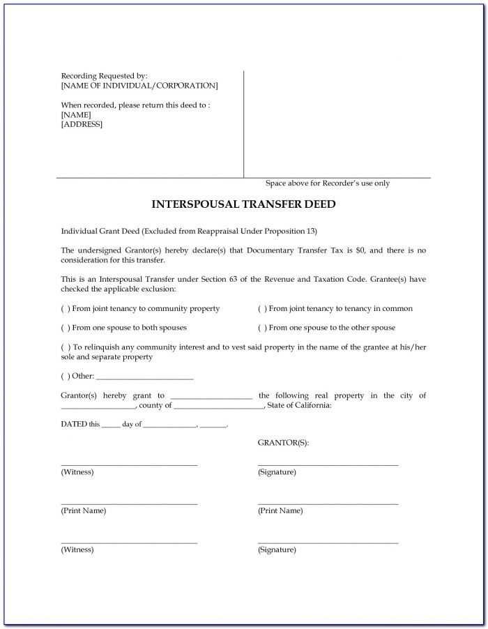 Interspousal Transfer Deed Form Los Angeles County