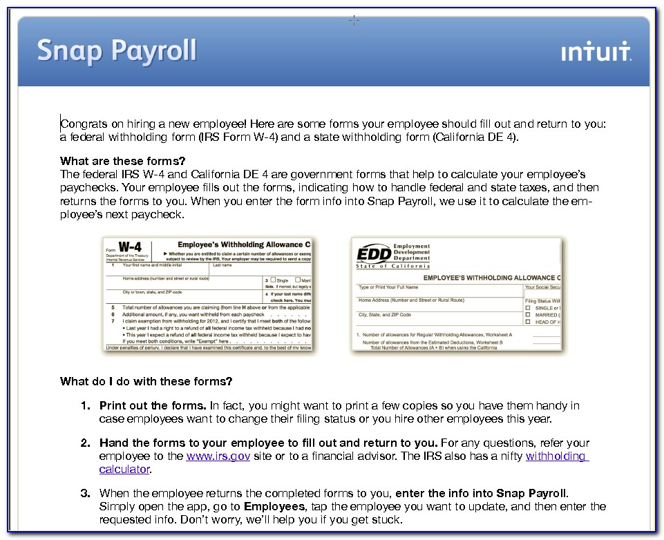 Intuit Payroll Direct Deposit Forms