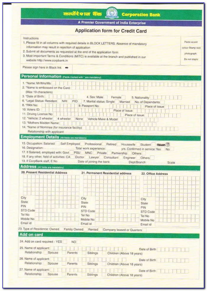 Iob Credit Card Application Form