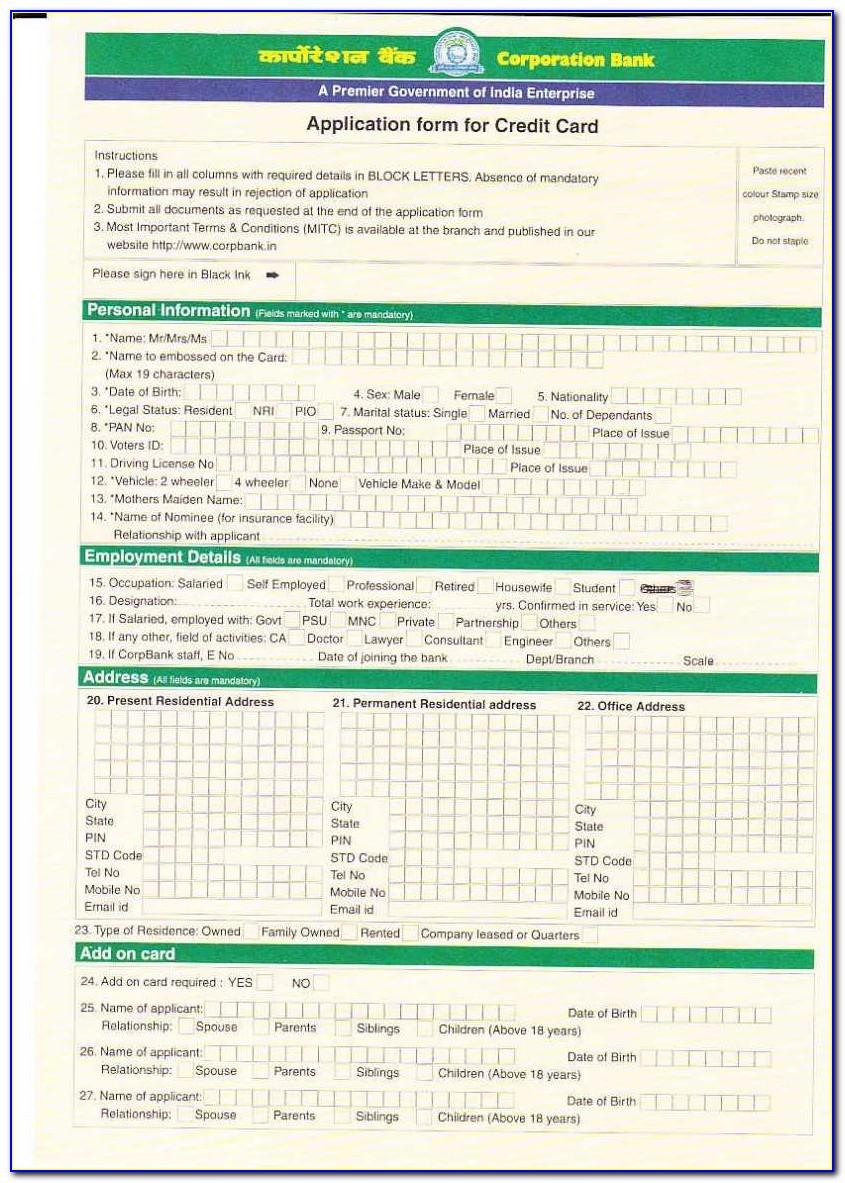 Iob Credit Card Application Form