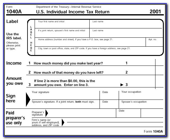 Irs Forms 1040a 2012