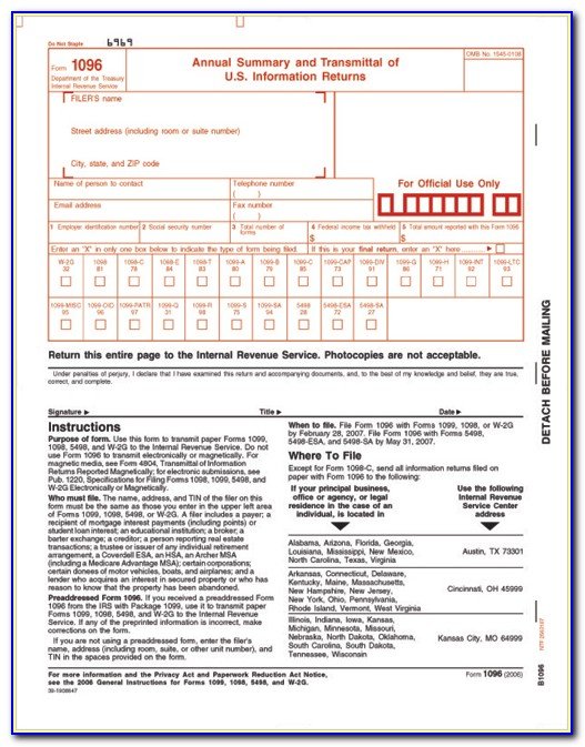 Irs Forms 1096 Order