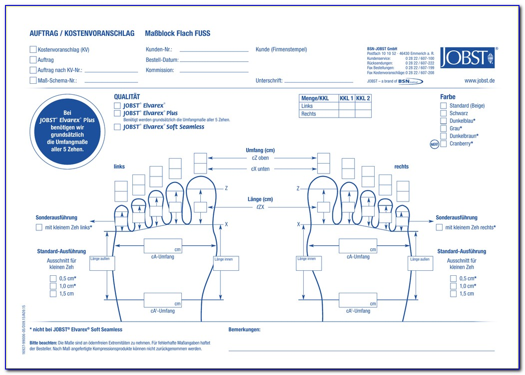 Jobst Elvarex Plus Order Form