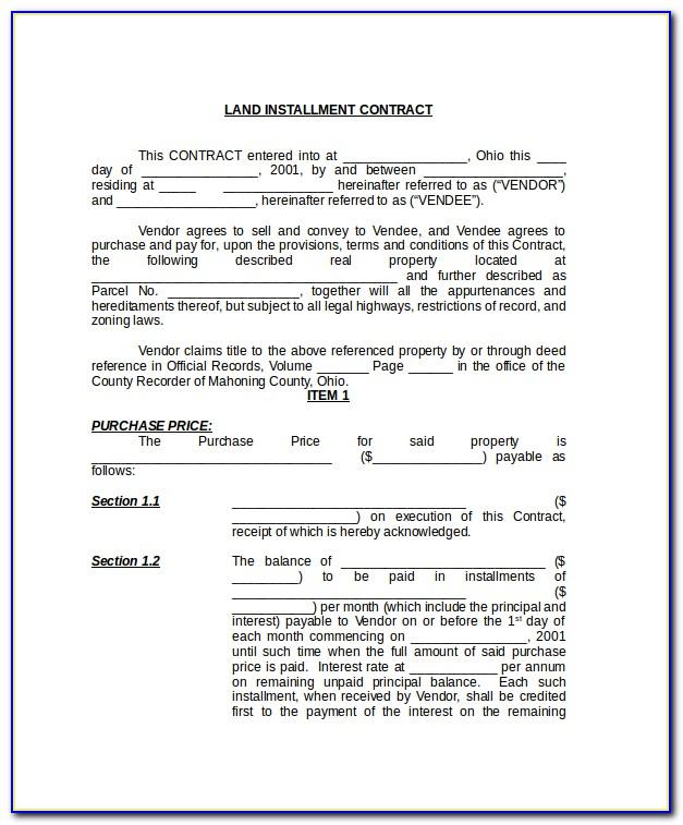Land Contract Example Ohio