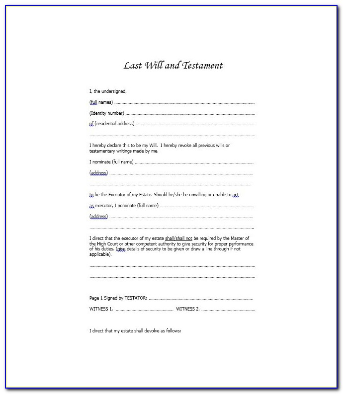 Last Will And Testament Forms Canada