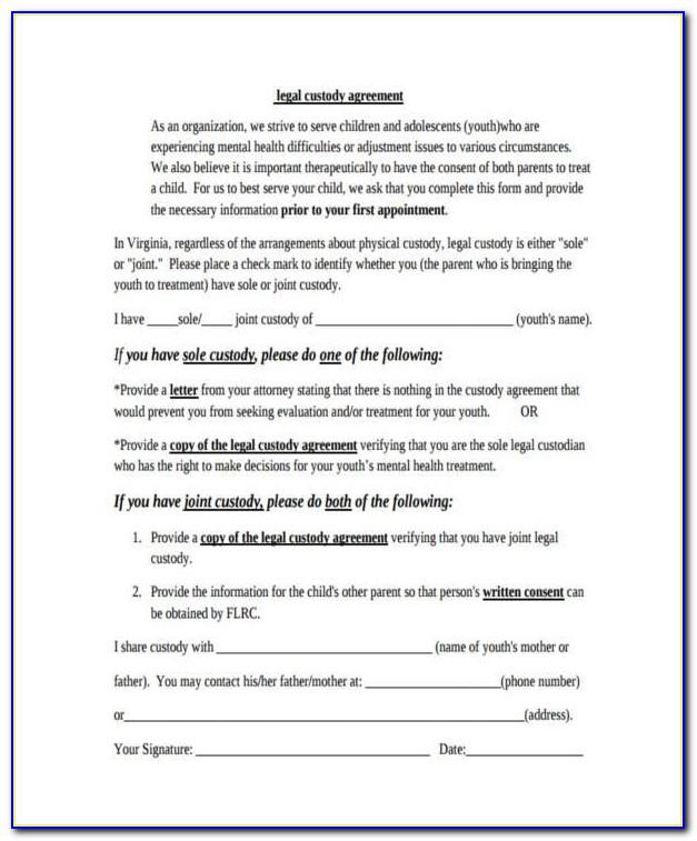 Legal Child Custody Agreement Forms