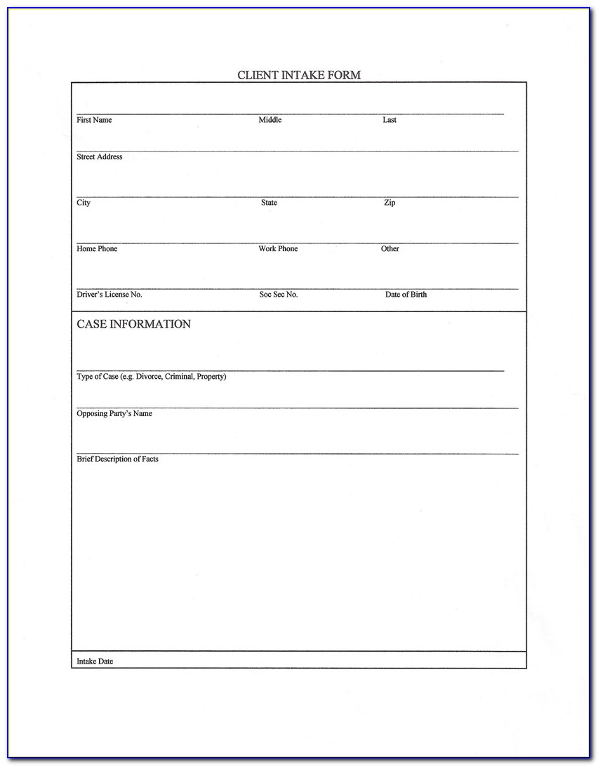 Legal Client Intake Form Template