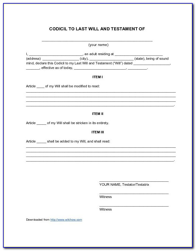 Free Printable Codicil Form Uk Form Resume Examples