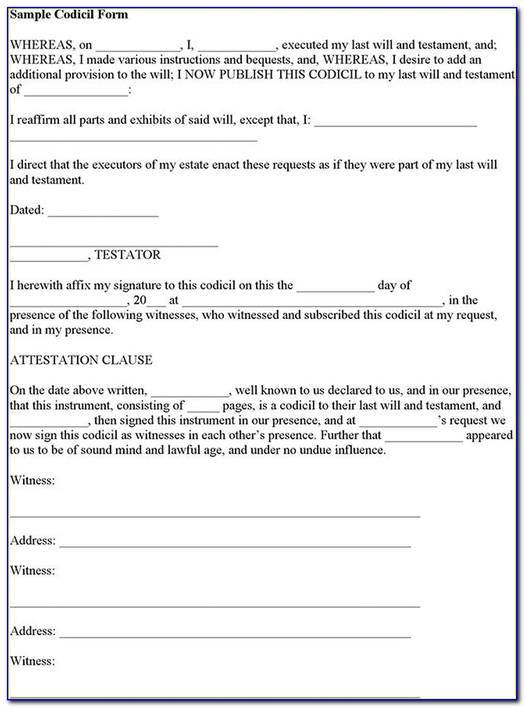 Legal Forms Codicil To Will