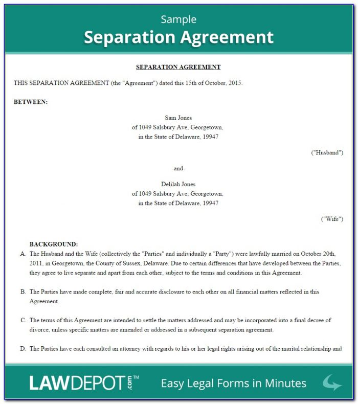 Legal Separation Agreement Form Canada