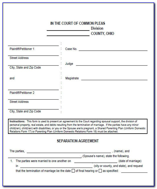 Legal Separation Agreement Form Nc