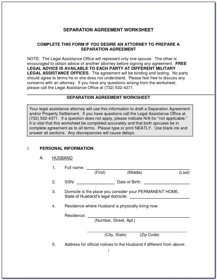 Legal Separation Agreement Form Pdf