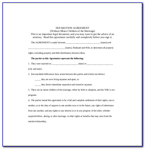 Legal Separation Agreement Forms Alberta