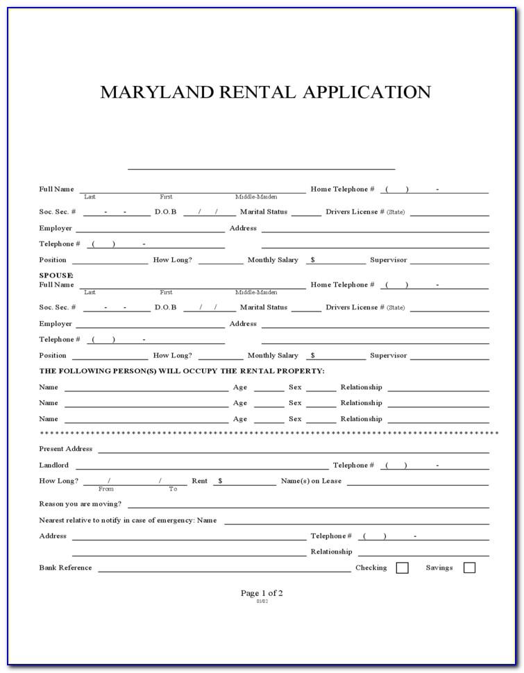 Maryland Rental Agreement Form