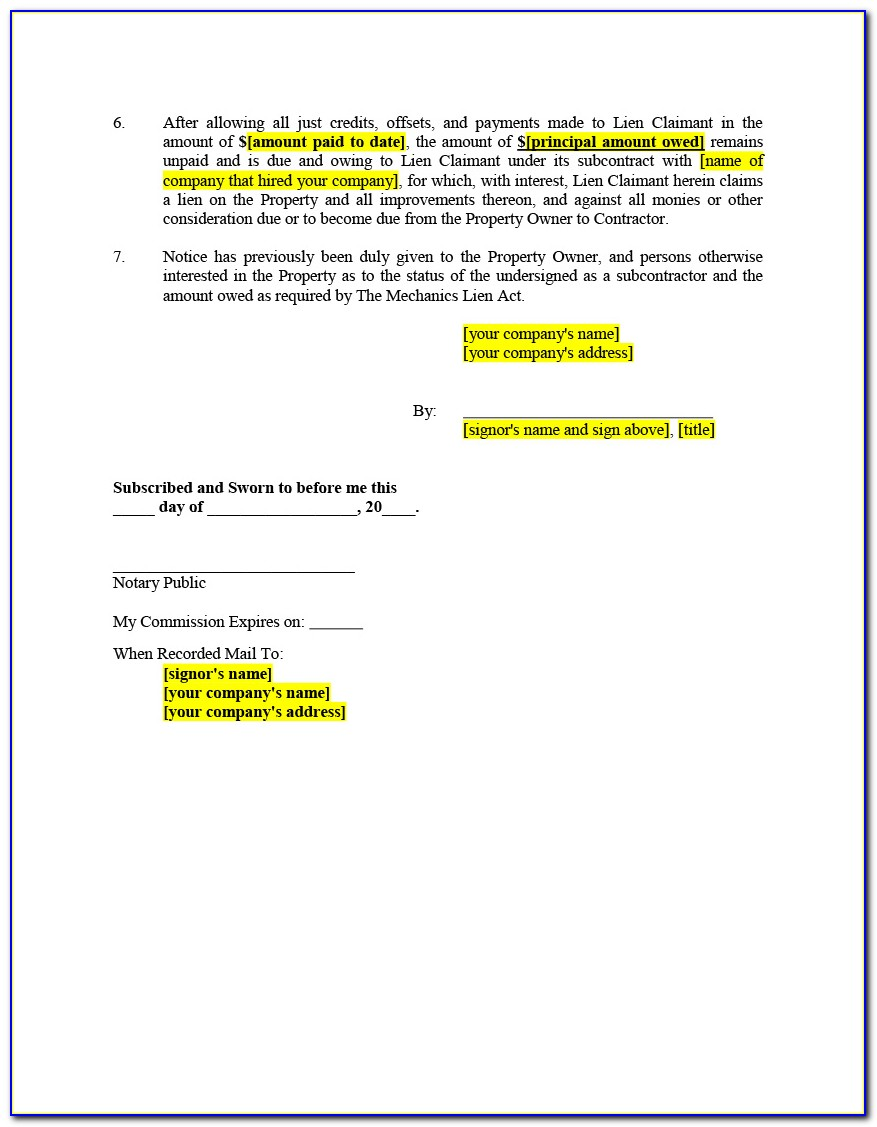 Mechanic And Materialman's Lien Contract Form Texas