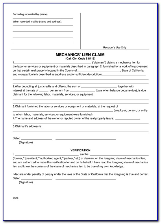 Mechanics Lien Release Form California