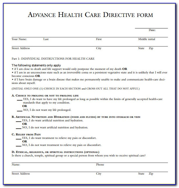 Medical Advance Directive Form Texas