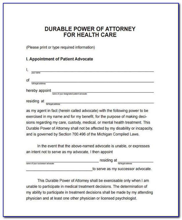 Medical Durable Power Of Attorney Form Colorado