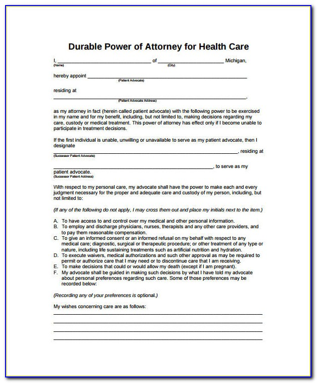 Medical Durable Power Of Attorney Form Ohio
