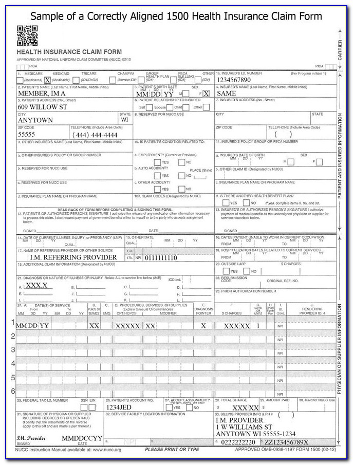 Medical Insurance Claim Form Template