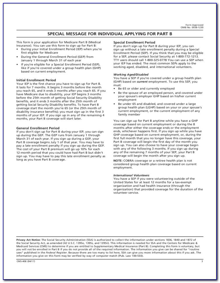 Medicare Part B Enrolment Form