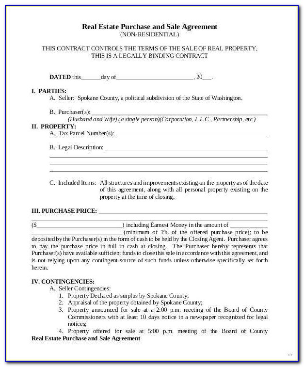 Minnesota Real Estate Purchase Agreement Form Free