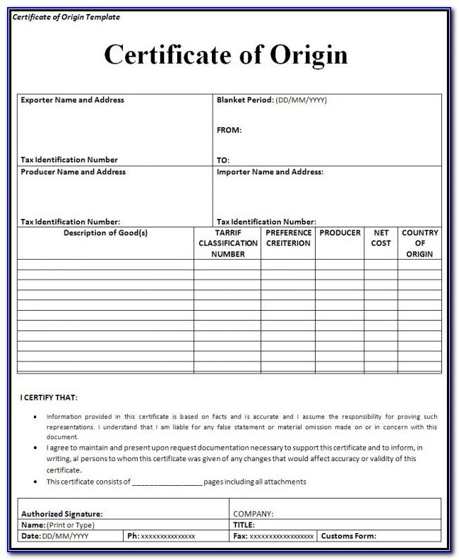 Nafta Certificate Of Origin Blank Form