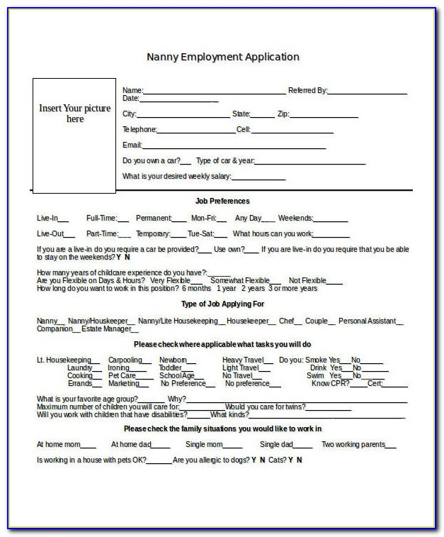 Nanny Application Form Template