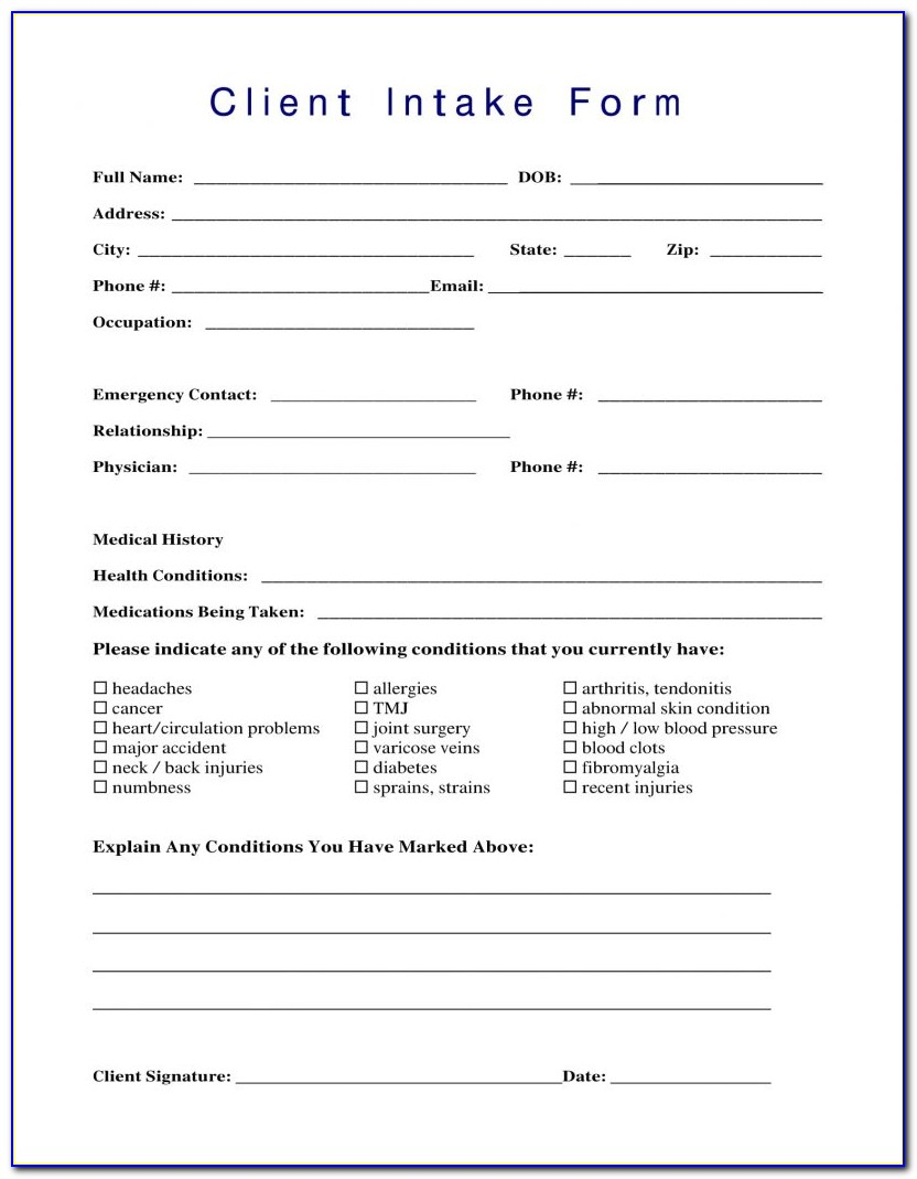 New Client Intake Form Counseling