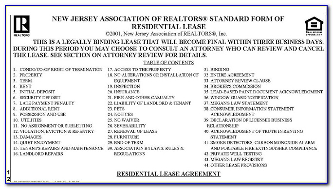 New Jersey Association Of Realtors Standard Form Of Residential Lease Application