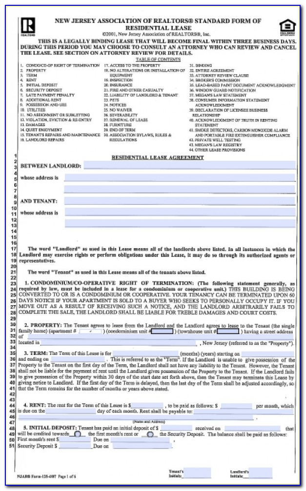 New Jersey Standard Form Of Residential Lease