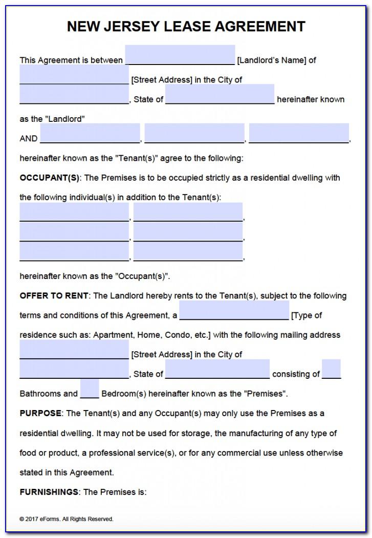 Nj Lease Agreement Form Pdf