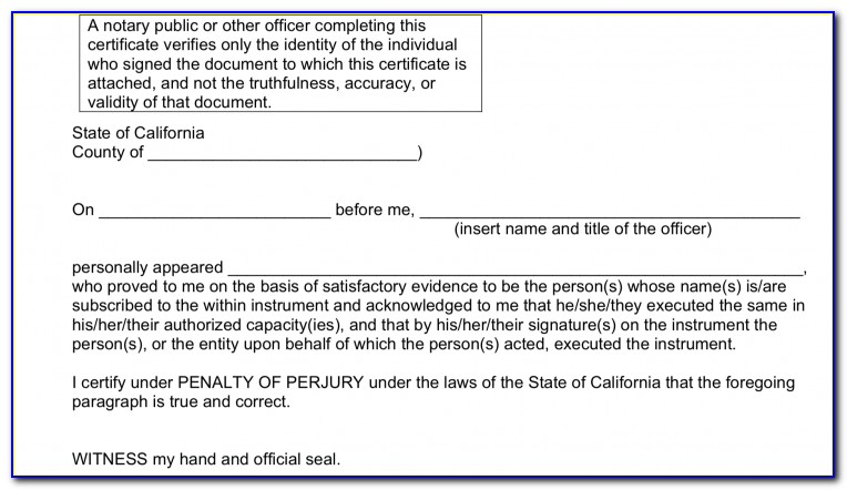 Notary Form Template California