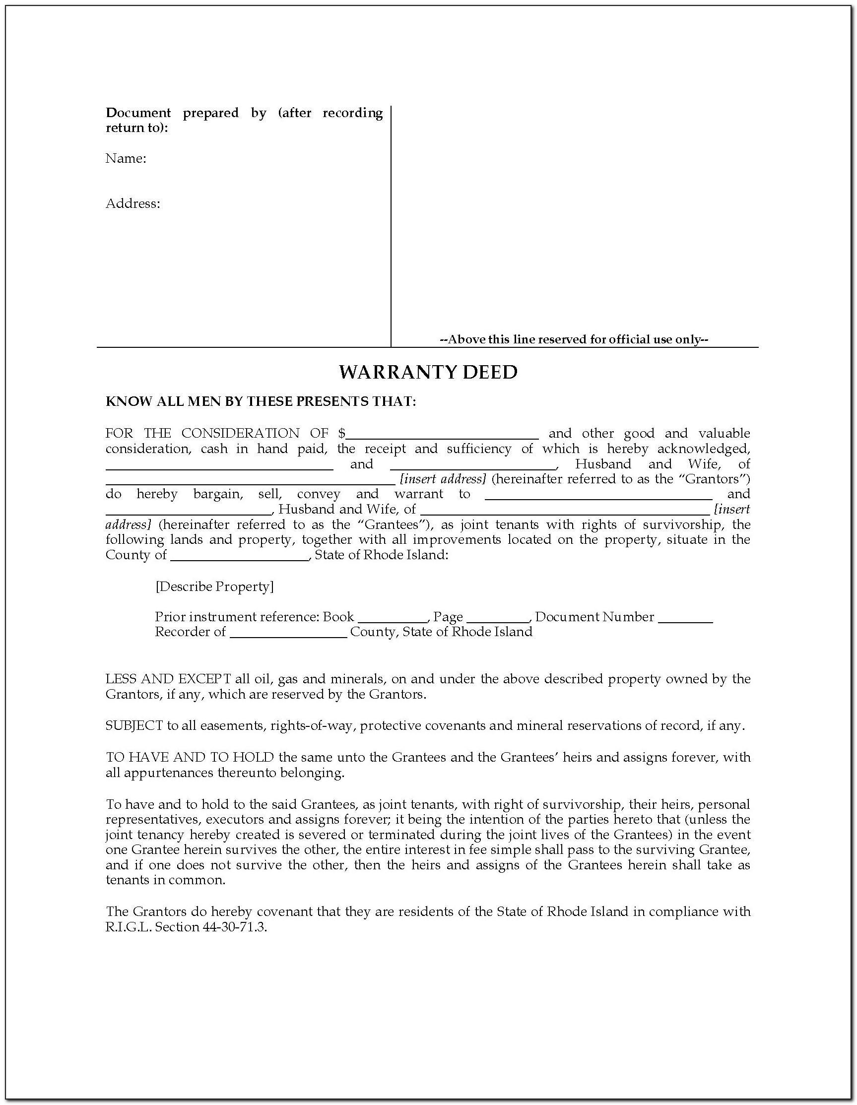 Oklahoma Joint Tenancy Warranty Deed Form