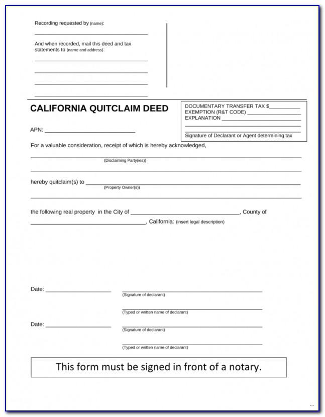 Orange County Quit Claim Deed Form