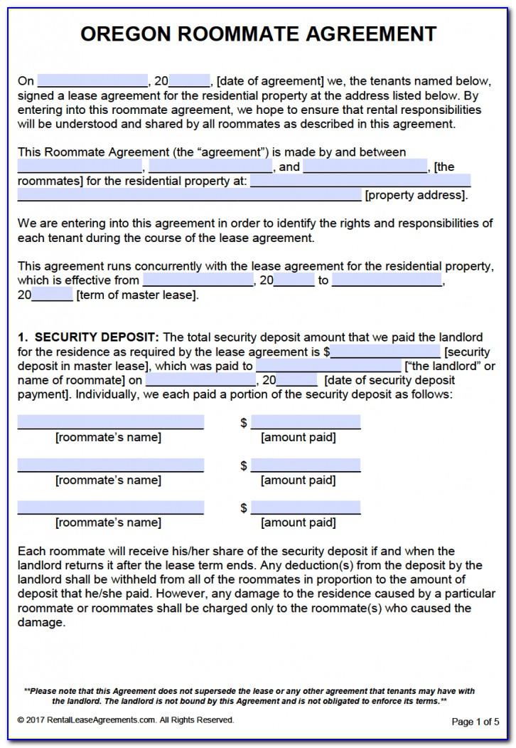 Oregon Room Rental Agreement Form