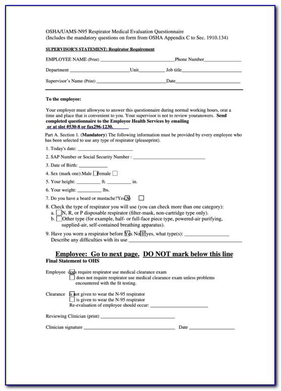 Osha Respirator Medical Evaluation Questionnaire Form Pdf