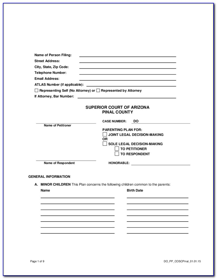 Pinal County Divorce Filing
