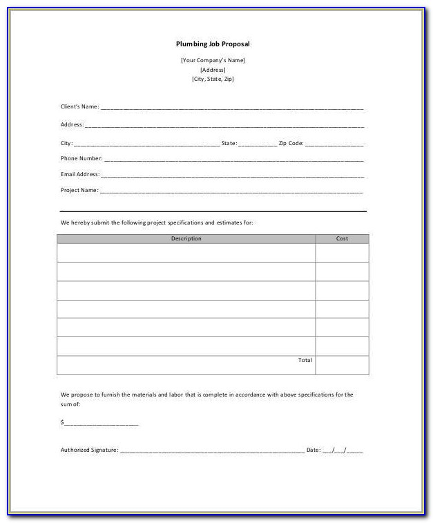 Plumbing Proposal Form Free