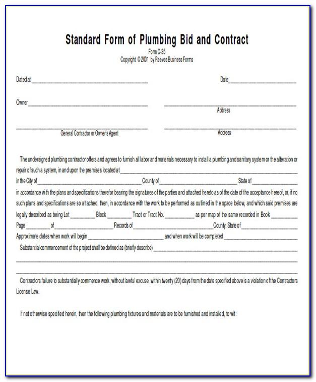 Plumbing Proposal Form