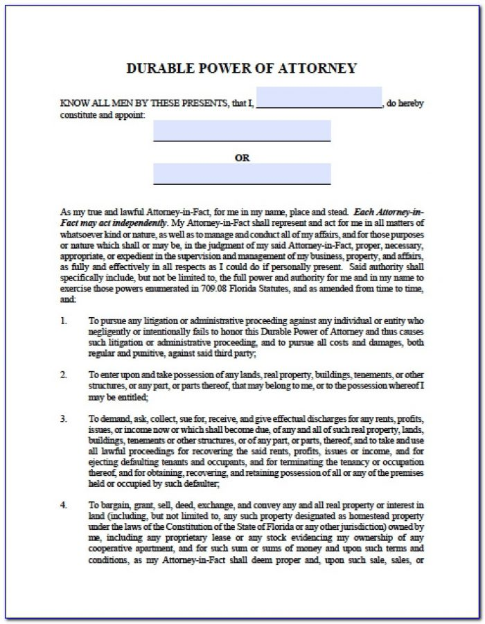 Power Of Attorney Form Florida Pdf