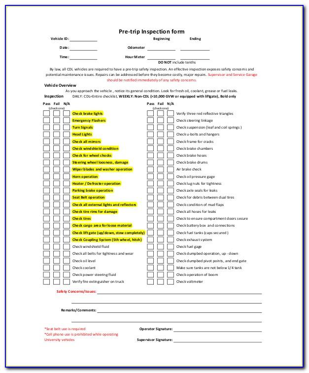 Pre Trip Inspection Checklist Form Icbc