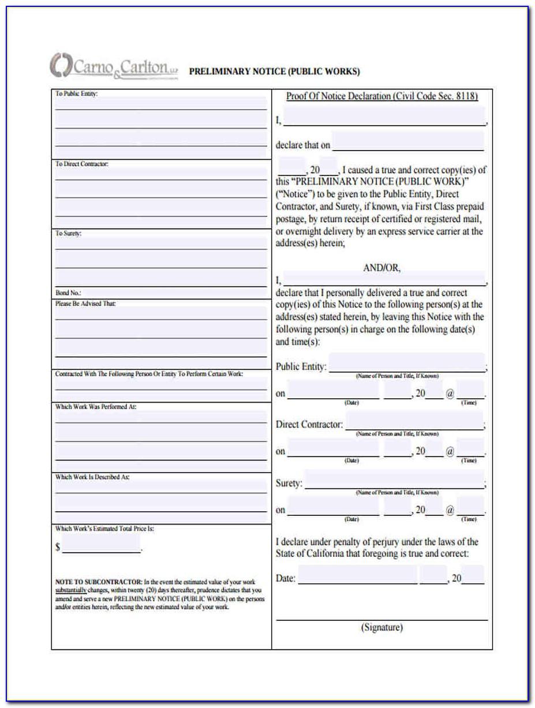 Preliminary Lien Notice Form Texas