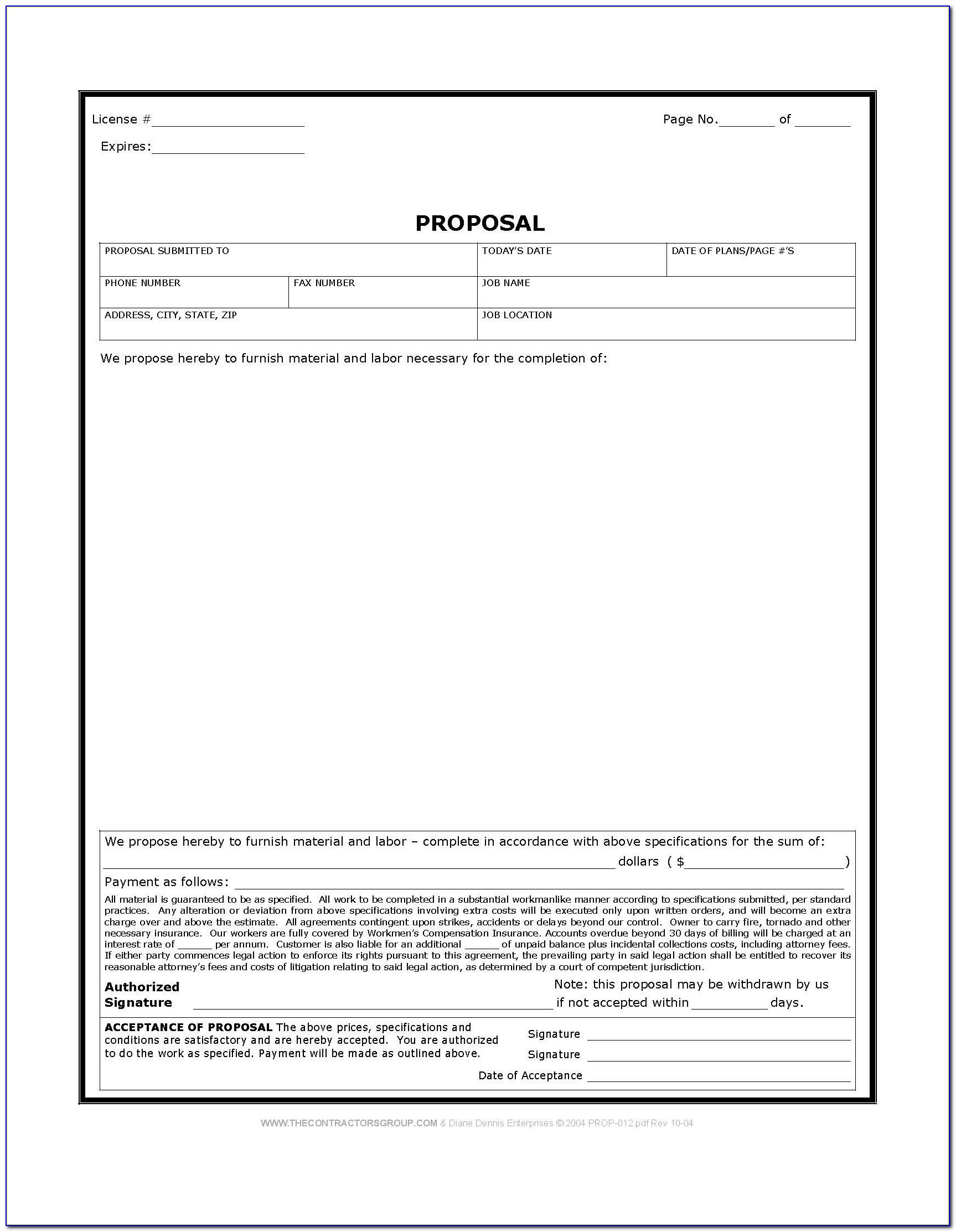Printable Blank Proposal Forms