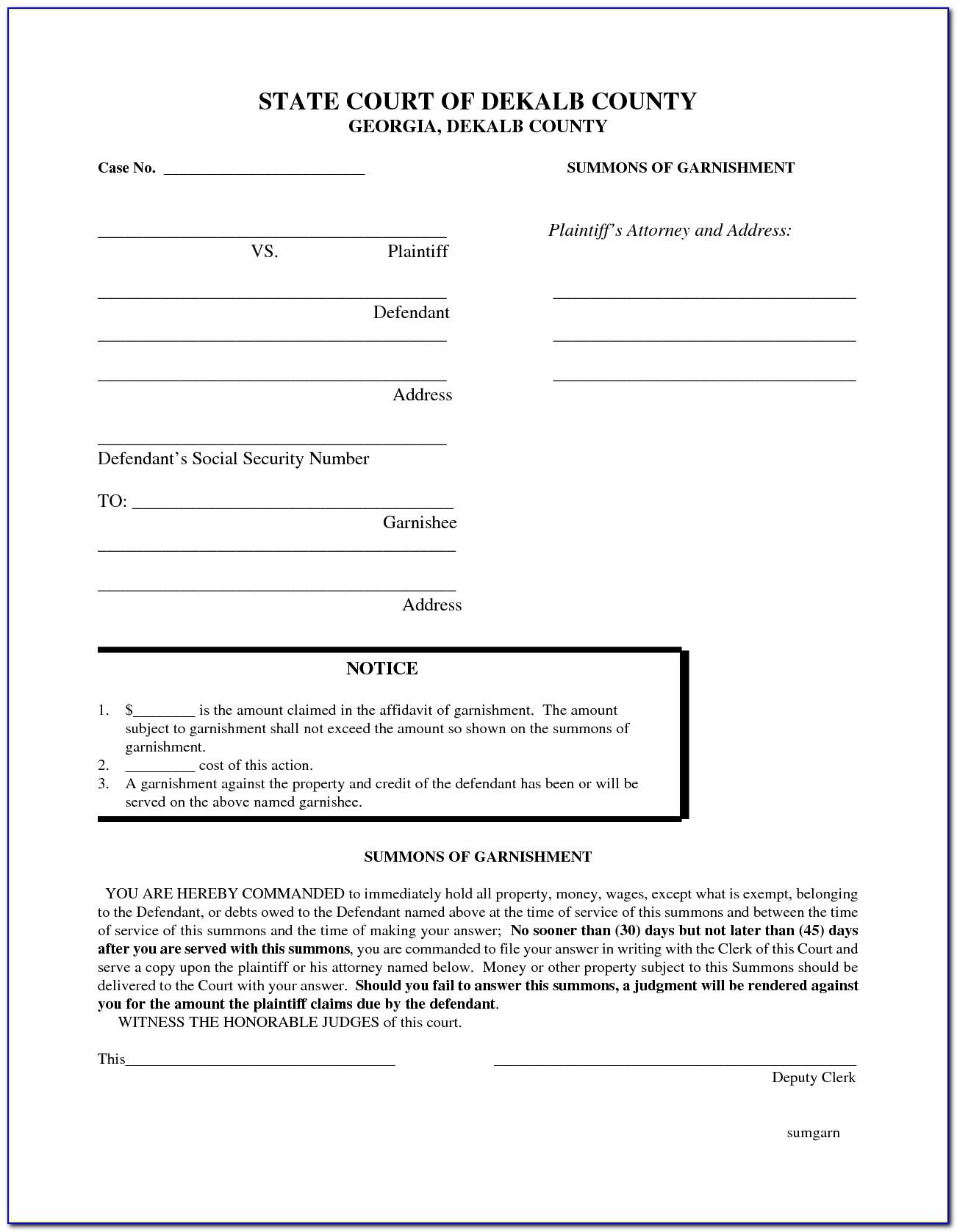 Printable Divorce Forms For Georgia
