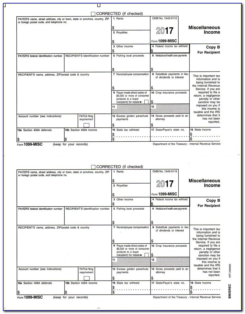 Printable Form 1099 Misc