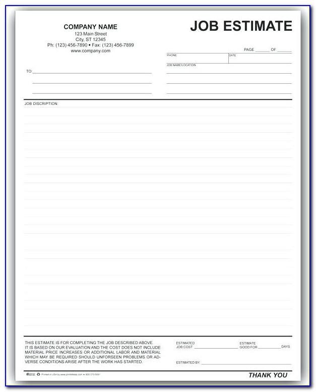 Printable Job Estimate Template