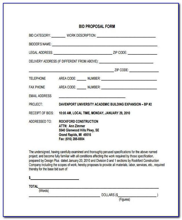Printable Job Proposal Forms