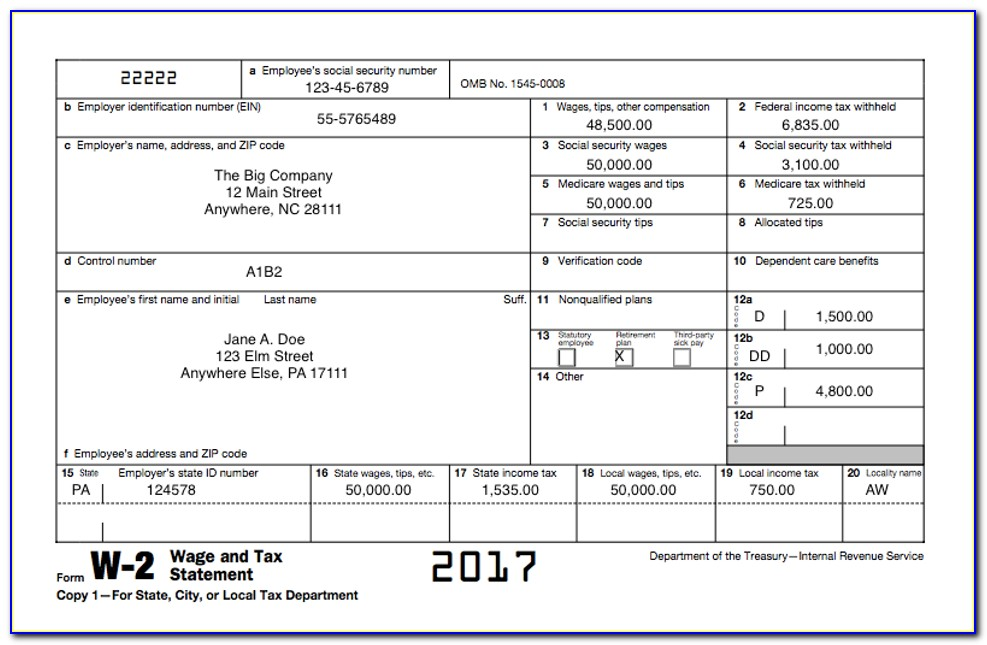Printable W2 Forms For Employees