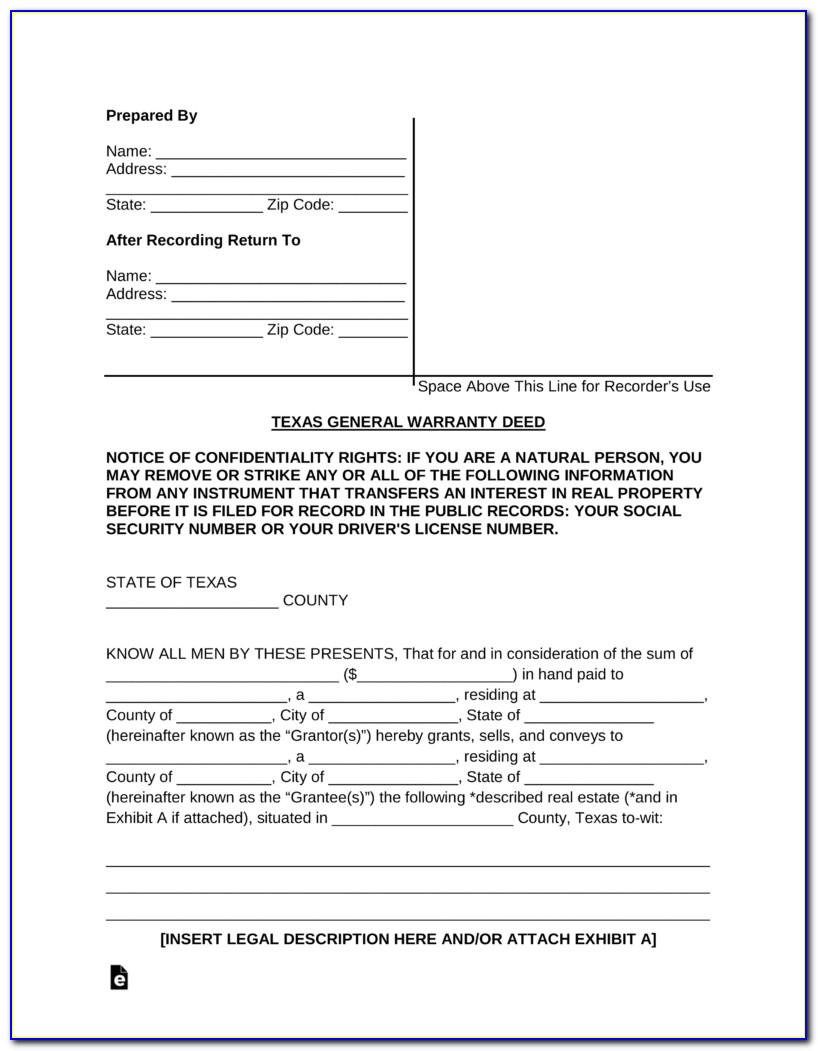 Printable Warranty Deed Form Texas